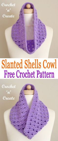 Slanted shells cowl, made in worsted weight/DK yarn, I have used a sunny shade of lilac. #crochetncreate #freecrochetpatterns #crochetcowls