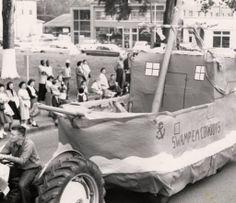 "McNeese Homecoming Parade in 1959. Phi Kappa Phi float. ""Swamp 'em Cowboys!""  Historic Photographs of Southwest Louisiana"