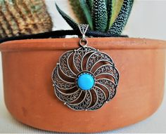 Beautiful handmade vintage silver pendant! Check out our etsy shop to see more!