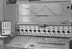 instruments for Electronica designed by Walter Landrieu ~ Top: rhythm programmer for the tracking of a waveform through a patch bay. Centre: bank of 12 tone generators, with a choice between different waveforms. Left: frequency meter.