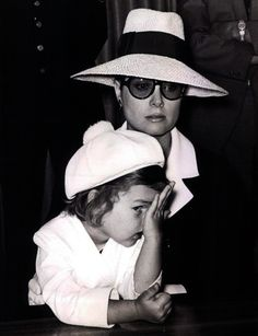 Princess Caroline with her mother, Princess Grace. I love the face splat!