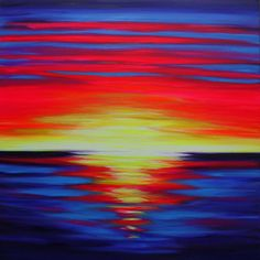 "'Heatwave' by Julie Everett. Heatwave is a large vivid abstract sunset in neon colours in oil and acrylic paint on a 100x100cm deep 4cm box canvas from the Jacksons Belle Arti range. It's inspired by vivid sunsets reflecting on the Pacific Ocean on a recent trip to the California coast. I always listen to music when painting and title my songs from lyrics to give an extra depth to the painting. The title ""Heatwave"" is from The Jam's version of the song."