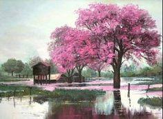 lapacho rosa oleo sobre tela Cecilia hewstone