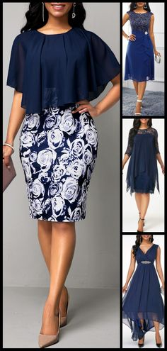Faux Two Piece Navy Blue Flower Print Dress - Mode - Classy Dress, Classy Outfits, Cute Outfits, Maxi Outfits, Trendy Outfits, Latest African Fashion Dresses, Women's Fashion Dresses, Spring Break, Navy Blue Flowers