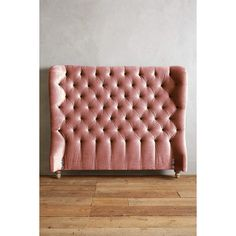 Anthropologie Slub Velvet Tufted Wingback Headboard ($1,898) ❤ liked on Polyvore featuring home, furniture, beds, pink, velvet tufted headboard, tufted headboard, velvet wingback bed, tufted wingback and wing back headboard