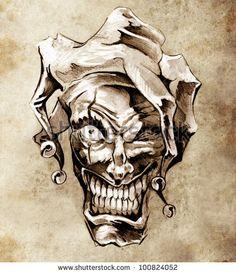 Fantasy clown joker. Sketch of tattoo art over dirty background ...