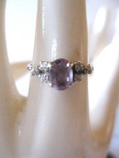 Vintage Purple Amethyst, .925 Sterling Silver, Ring, Size 6. $25.00, via Etsy.