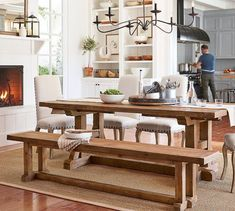 Need dining room inspiration? Shop Pottery Barn for stylish dining room ideas, furniture and decor. Long Wood Table, Wood Dining Bench, Extendable Dining Table, Dining Tables, Dining Area, Casa Milano, Reclaimed Wood Benches, Iron Chandeliers, Metal Chandelier
