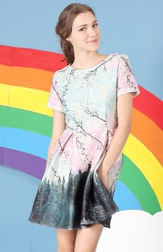 """Let's not create a scene, or should we?  Scenic print dress features a flattering short sleeve in a fit and flare circle skirt cut!  Exclusive Print & Design by Flaunt.cc.  *Neoprene *Fully Lined *Concealed Back Zip Closure  Model Info:175 cm / 5'7""""   Bust:32.5   Waist:24   Hips:34.5   Wear size S"""