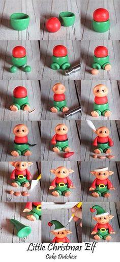 Fondant Little Christmas Elf tutorial by Cake Dutchess Christmas Cake Topper, Christmas Cake Decorations, Fondant Decorations, Christmas Cupcakes, Christmas Crafts, Christmas Design, Easter Cupcakes, Christmas Christmas, Fondant Cupcakes