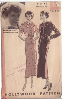 Hollywood Pattern 810 | 1930s two-piece frock featuring Katharine Hepburn The second K. Hepburn pattern