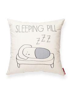 Sleeping Pill Linen Throw Pillow