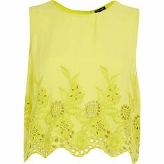 Lime floral embroidered crop tank top £20.00