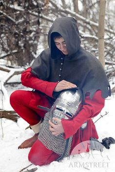 Medieval men's costume coat tappert cotta coat and hood