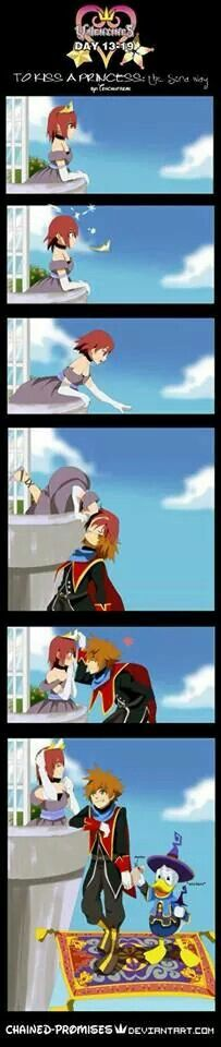 Smoooooth maneuver , Sora! VERY smoooooth! He can do that to me any time he wants! - Sora & Kairi | Kingdom Hearts
