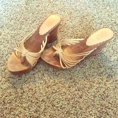 Wood wedge sandals Worn but in great condition! No damage, just normal wear. No trades. Shoes Wedges