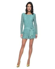 Home :: Rompers :: Bardot Lace Romper by Juicy Couture A flirty romper gets layered with lace in a beautiful moss green hue and is finished with a gold embellished ribbon tied around the waist. Round neckline, sheer sleeves with scallop cuff Low back with hidden zipper closure 3&quot Price: $288.00 Buy More information