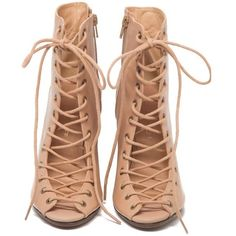 Solange Wedges- Nude ($325) ❤ liked on Polyvore featuring shoes, boots, ankle booties, heels, sapatos, wedges, leather lace up booties, open toe lace up booties, open toe booties and lace up boots