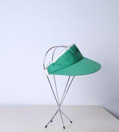 80s adjustable visor green and white golfing hat 1990s womens mens unisex vintage sunhat boating beach retro hat by furhatguild on Etsy
