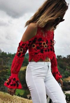 #summer #outfits / red embroidered top