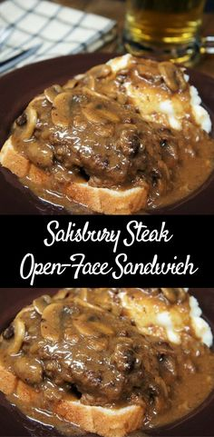 This Open-Face Salisbury Steak Sandwich is comfort food at its best! Perfectly seasoned lean ground beef is smothered in a flavorful deep-brown onion and mushroom gravy, and served on a slice of white bread. Make this meal complete with a side of creamy, homemade mashed potatoes. Enjoy!
