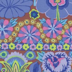 Kaffe Fassett - Artisan - Embroidered Flower Border - Blue
