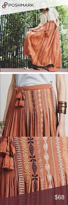 THE ULTIMATE Free People all cotton maxi skirt EUC Well, it pains me to sell this, but it just doesn't look good on me. It is spectacular. Terra Cotta color w natural, cream and light blue Aztec embroidered design. Worn twice. Free People Skirts Maxi