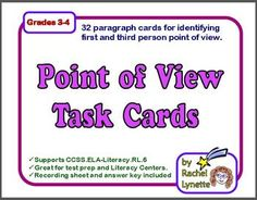Point of View Task Cards: 32 Paragraph Cards for First and