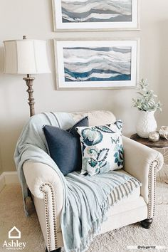 [ Cozy corners with blue accent decor- yes, please! Thanks to our brand ambassador… Cozy corners with blue accent decor- yes, please! Thanks to our brand ambassador, Stager Roz, for the inspo! ✨ Pin this for later when you're ready for a refresh! Small Recliners, Cozy Corner, Blue Accents, Beach House Decor, Blue Home Decor, Home Interior, Interior Livingroom, Interior Design, Kitchen Interior