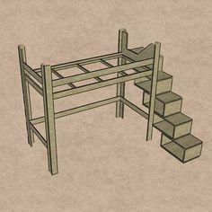 Hochbett mit Treppe aus Regalkästen