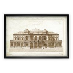 Darby Home Co 'Architecture Sketch I' Rectangle Framed Oil Painting Print on Wrapped Canvas Metal Wall Art, Painting Prints, 5 D, Wrapped Canvas, Picture Frames, Vintage World Maps, Canvas Art, Framed Prints, Sketch