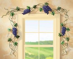 Purple Grape Grapevine Metal Around the Door Kitchen Wall Decor Window Border Wine Theme Kitchen, Grape Kitchen Decor, Turquoise Kitchen Decor, Kitchen Themes, Kitchen Ideas, Kitchen Design, Ux Design, Wall Design, Muebles Home