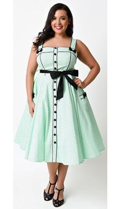 Hell Bunny Plus Size Retro Pin-Up Mint Dot Martie Swing Dress
