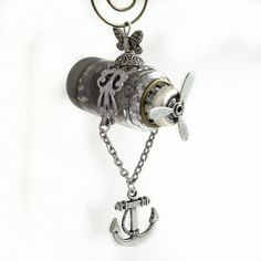 Anchors Away - Steampunk Airship, Zeppelin, Dirigible-made with an old vacuum tube! $85