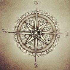 Idée de tatouage, rose des vents / boussole mêlée à une inspiration mandala