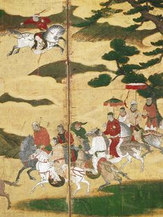 韃靼人狩猟図屏風 部分 Scene of Tartars Hunting on Horseback Japanese Art, Ancient, Paper Book, Drawings, Culture Art, Painting, Japanese School, Art, Ancient Paintings