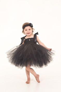 Girls Tutu Dress, Audrey Hepburn Inspired Tutu, Little Black Dress, Breakfast At Tiffanys, Classy Tutu Dress, Fancy Tutu, Halloween  Costume - pinned by pin4etsy.com