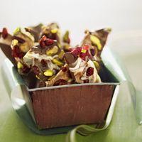 Chocolate Bark- Skin protecting flavonoids in dark chocolate and edame as well as beauty sleep-inducing dried tart cherries