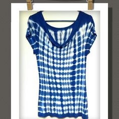 Top Cute tie dye cowl neck top, such a pretty blue...... 97% Rayon 3% Spandex INC International Concepts Tops