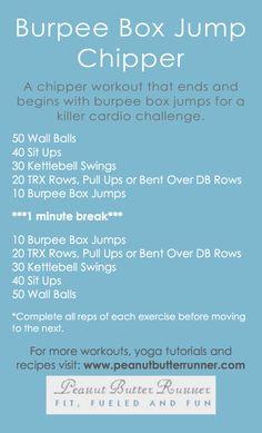 Peanut Butter Runner | Burpee Box Jump Chipper Workout | http://www.peanutbutterrunner.com