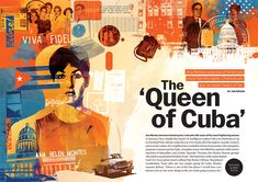 Washington Post Magazine A Most Dangerous Spy – Ana Montes 'The Queen Of Cuba' feature illustration. Graphic Design Layouts, Graphic Design Inspiration, Layout Inspiration, Design Posters, Editorial Layout, Editorial Design, Newsletter Layout, Yearbook Design, Yearbook Layouts