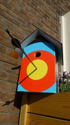 Great birdhouse to repurpose a broken arrow or for archer gift