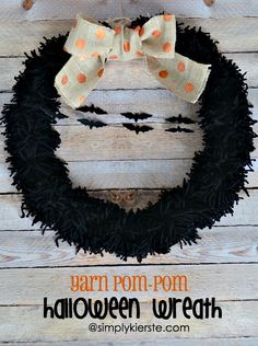 This darling Yarn Pom-Pom Halloween Wreath is simple to make, and a spooky and fun addition to your front door! Tutorial included!