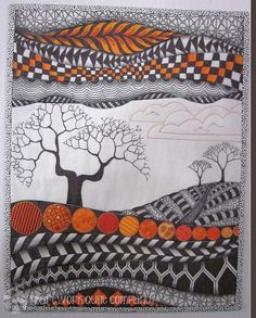 Orange Zendscape Art Quilt by HartworkQuiltCompany on Etsy
