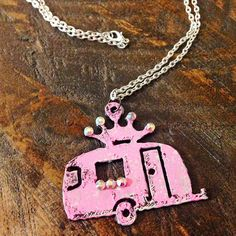 Glamper Camper Trailer Pendant Necklace by barbwireandlace08