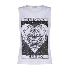 Weisses Print-Top 'Astro' (€13) ❤ liked on Polyvore featuring tops, tank tops, shirts, t-shirts, tanks, pattern tops, print shirts, shirts & tops, print top and print tank