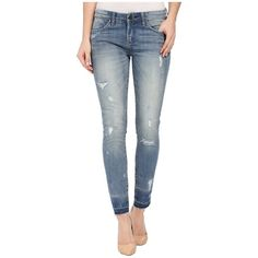 Blank NYC Released Hem Crop Skinny in Bump and Run Women's Jeans ($88) ❤ liked on Polyvore featuring jeans, blue jeans, super skinny jeans, light wash destroyed skinny jeans, ripped skinny jeans and ankle length skinny jeans