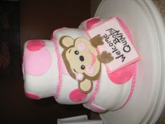 Baby Girl Monkey Cake - 3 Tier Fondant