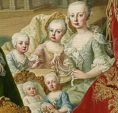 From Tiny-Librarian :   Detail  of some of the daughters of Maria Theresa and Francis I, taken from a family portrait done in 1755. On the...