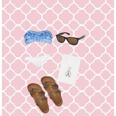Beach outfit: ruffle top and bottom, ray bans, waxing poetic necklace, Birkenstocks!